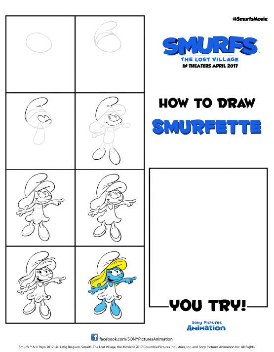 How to draw smurfette