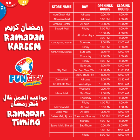 Fun City Ramadan Timings 2017